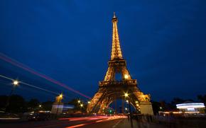Eiffelturm, la tour eiffel, Frankreich, Paris, Eiffelturm, Frankreich, Paris, Nacht, Stadt, Menschen, Strae, Belichtung