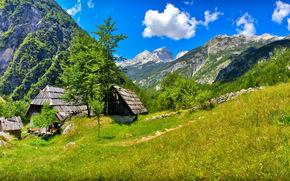Словения, Небо, bovec, Трава, Облака