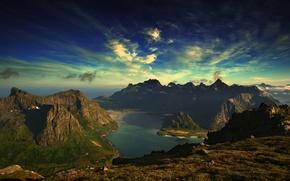 paesaggio, oceano, isola, natura, Montagne