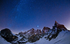 Star, landscape, night, CONSTELLATION, Mountains, sky