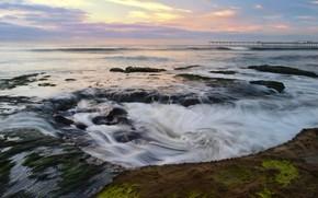 mar, pier, pedras, curso, vrtices, hidromassagem, Algas