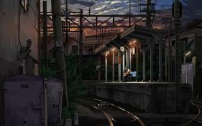 Art, station, Iron zhoroga, girl, form, expectation, metro, sunset, evening