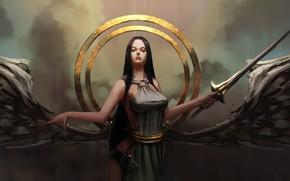 арт, девушка, ангел, крылья, круги, меч, оружие, клинок