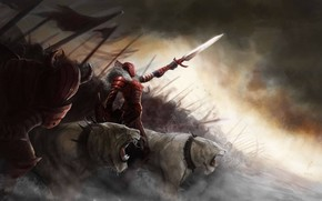 Art, army, Monsters, Cats, wild, Predators, sword, collar, spikes, girl, shield, armor, spears, banners