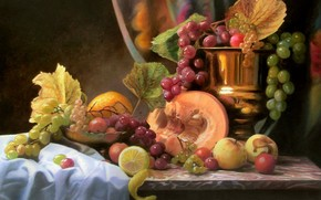 picture, still life, fruit, Berries, grapes, leaves, pumpkin, apples, lemons, vase, tissue, cup, table