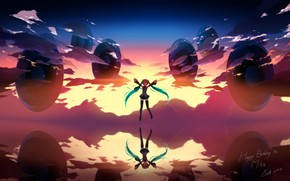 Art, girl, sky, clouds, Vocaloid, Hatsune Miku, sunset