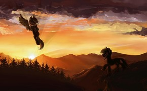 pony, Pegasus, sunset, Mountains, forest, obloka