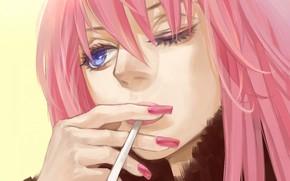 girl, wink, cigarette, Vocaloid