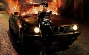 ragazza, tatuaggio, drago, macchina, fuoco.