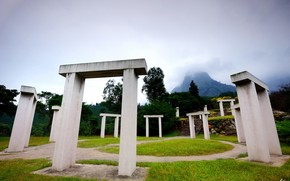 Hills, Arco, costruzione, colonna, traccia, erba, fase, nuvole