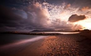 sunset, sea, coast, clouds, landscape