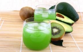 kiwi, juice, ice, drink, fruit, avocado, glasses