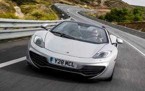 McLaren, Spider, Supercar, gray, front, road, background, supercars