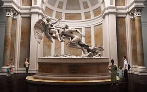 Музей, скульптура, статуя, здание, колоны, люди
