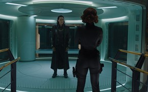Vingadores, Maravilha, super-heris, equipe, organizao, SCH.I.T, Tom Hiddleston, Loki, vilo, A Viva Negra, Armas, Natasha Romanoff, agente, Scarlett Johansson, dilogo