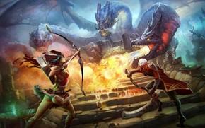 арт, ступени, битва, девушка, парень, оружие, монстр, змеи, гидра, огонь, коса, лук, лучница