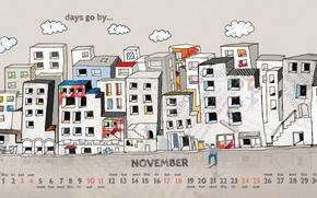 ноябрь, календарь, числа, рисунок, город, дома, человек