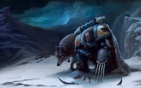 Marines, claws, Wolves, hormagaunt, snow, Mountains