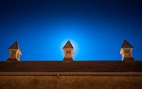 night, sky, roof
