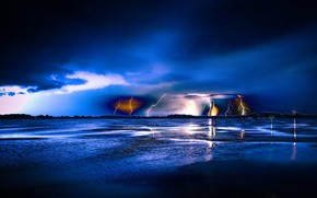 notte, fulmine, paesaggio