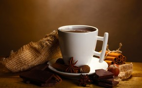 hot, chocolate, slices, drink, cinnamon, anise, star anise, Spices, Nuts