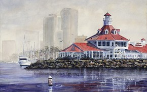watercolor, embankment, sea, yacht, lighthouse, construction, roof, high-rise, city, lights