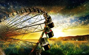 Небо, звезды, поле, цветы, колесо, обозрения