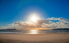 cielo, las nubes, sol, mar, arena