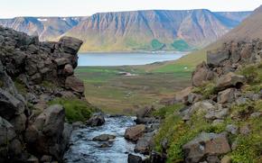 река, камни, скалы, валуны, холмы, озеро