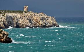 море, скалы, берег, камни, башня, руины