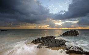 France, cte, plage, Rocks, mer, matin, ciel, nuages