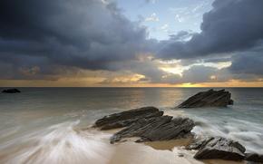 Франция, берег, пляж, скалы, море, утро, небо, облака