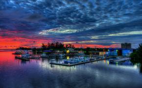 natura, paesaggio, cielo, nuvole, tramonto, Barche, mare