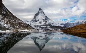Альпы, Швейцария, Италия, гора Маттерхорн, горное озеро, отражение, небо, облака, осень, Октябрь