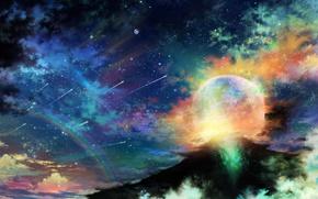 арт, tsujiki, планета, ночь, звезды, облака, радуга