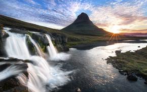 гора, водопад, камни, река, закат