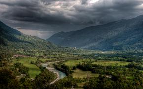 Slovenia, Kobarid, Fiume Soca, Montagne, estate, cielo, nuvole, hdr, alja