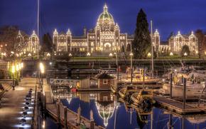 victoria, canada, Victoria, Canada, parliament, wharf, night city, Yacht
