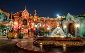 US Park, fontana, Disneyland, California, strada, semaforo, notte