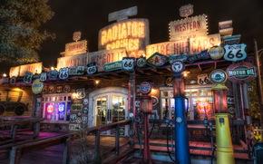Stati Uniti d'America, California, Disneyland, route 66, notte, design