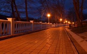 Hot key, Krasnodar, lights, sidewalk, tile, night
