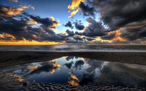 Италия, Лацио, porto clementino, небо, вечер, тучи, море, берег, пляж, отражения, paolo capoccia photography