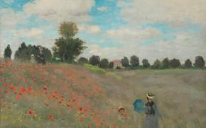 Моне, Клод Моне, Поле маков, картина, живопись, маки, произведение искуства, художник