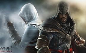 Игра, Альтаир, Эцио, оружие, клинок, спина к спине, броня