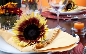 laying, table, Sunflowers, Flowers, Wipes, dishes, cutlery, Knives, Fork, glasses, spoon, Candles, Mats