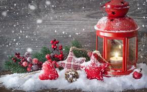 Ao Nuevo, Navidad, Juguetes, Navidad, rama, Estrella, corazn, golpear, vela, candelero, nieve, Ao Nuevo