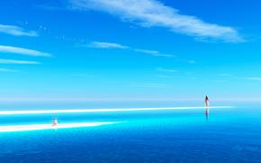 Art, sea, ocean, girl, Pyramid, stones, sand