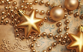 Star, Balls, Beads, Gold, New, Christmas, Toys, Jewelry, holiday, New Year, Christmas, New Year