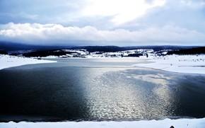 Sea, ice, Lake