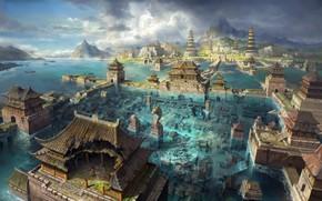 Art, city, Asia, water, flooding, flood, Mountains, sea